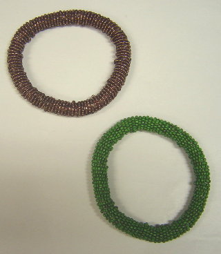 BRACCIALI RING SET2 VIOLA+VERDE